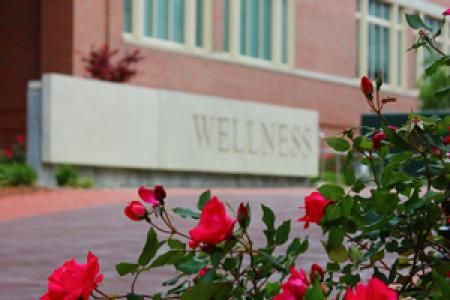Photo of flowers and Wellness wall outside of UHS